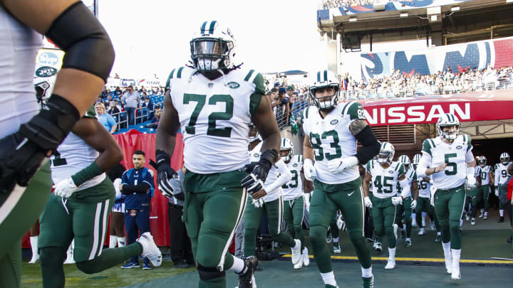 NASHVILLE, TN – DECEMBER 2: The New York Jets take the field before playing the Tennessee Titans at Nissan Stadium on December 2, 2018 in Nashville, Tennessee. (Photo by Frederick Breedon/Getty Images)