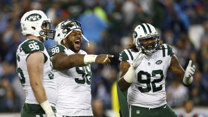 NASHVILLE, TN – DECEMBER 2: Mike Pennel #98 of the New York Jets and Leonard Williams #92 celebrate a play against the Tennessee Titans in the fourth quarter at Nissan Stadium on December 2, 2018 in Nashville, Tennessee. (Photo by Wesley Hitt/Getty Images)