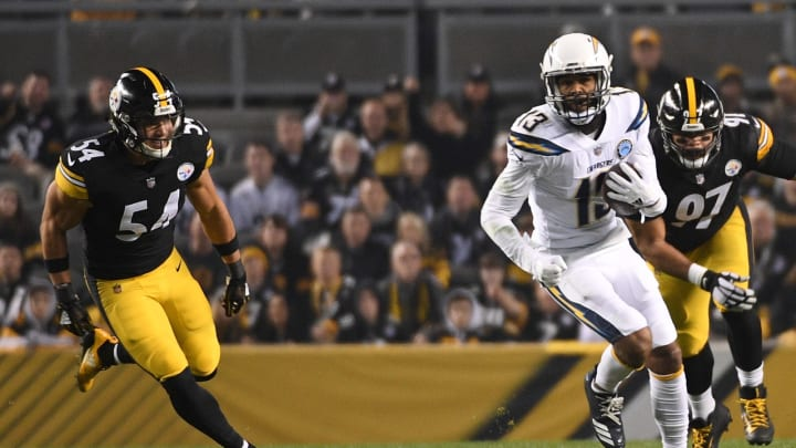 PITTSBURGH, PA – DECEMBER 02: Keenan Allen #13 of the Los Angeles Chargers runs upfield after a catch in the first quarter during the game against the Pittsburgh Steelers at Heinz Field on December 2, 2018 in Pittsburgh, Pennsylvania. (Photo by Justin Berl/Getty Images)