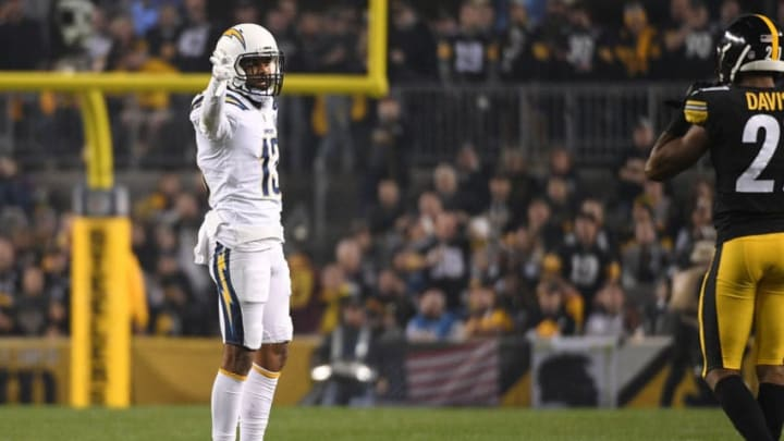 PITTSBURGH, PA - DECEMBER 02: Keenan Allen #13 of the Los Angeles Chargers reacts after a first down reception in the first quarter during the game against the Pittsburgh Steelers at Heinz Field on December 2, 2018 in Pittsburgh, Pennsylvania. (Photo by Justin Berl/Getty Images)