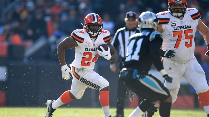 CLEVELAND, OH – DECEMBER 09: Nick Chubb #24 of the Cleveland Browns carries the ball during the second quarter against the Carolina Panthers at FirstEnergy Stadium on December 9, 2018 in Cleveland, Ohio. (Photo by Jason Miller/Getty Images)