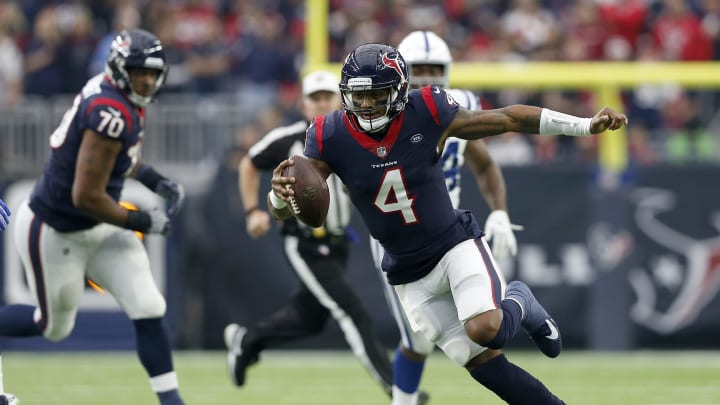 HOUSTON, TX – DECEMBER 09: Deshaun Watson #4 of the Houston Texans scrambles in the first quarter against the Indianapolis Colts at NRG Stadium on December 9, 2018 in Houston, Texas. (Photo by Tim Warner/Getty Images)