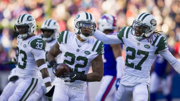 ORCHARD PARK, NY - DECEMBER 09: Trumaine Johnson #22 of the New York Jets celebrates an interception during the second quarter against the Buffalo Bills at New Era Field on December 9, 2018 in Orchard Park, New York. (Photo by Brett Carlsen/Getty Images)