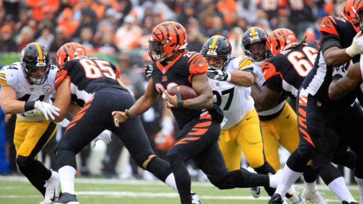 CINCINNATI, OH - OCTOBER 14: #28 of the Cincinnati Bengals runs with the ball against the Pittsburgh Steelers at Paul Brown Stadium on October 14, 2018 in Cincinnati, Ohio. (Photo by Andy Lyons/Getty Images)