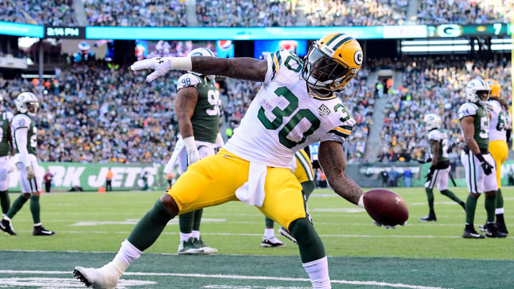 EAST RUTHERFORD, NJ – DECEMBER 23: Jamaal Williams #30 of the Green Bay Packers celebrates after scoring a touchdown against the New York Jets during the second quarter at MetLife Stadium on December 23, 2018 in East Rutherford, New Jersey. (Photo by Steven Ryan/Getty Images)