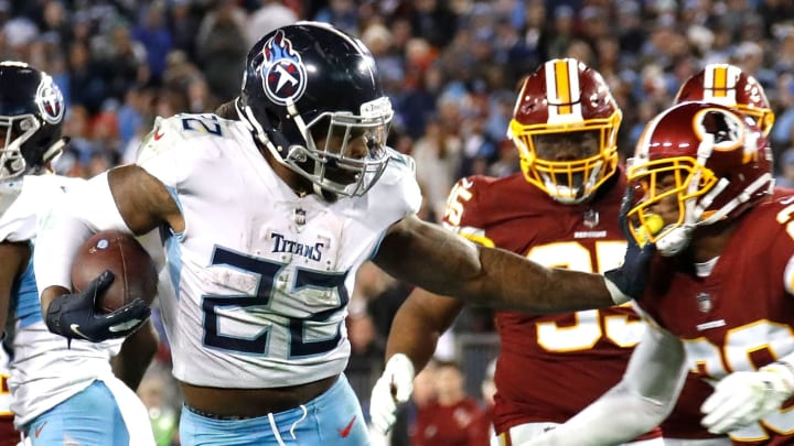 NASHVILLE, TN – DECEMBER 22: Derrick Henry #22 of the Tennessee Titans rushes against the Washington Redskins at Nissan Stadium on December 22, 2018 in Nashville, Tennessee. (Photo by Frederick Breedon/Getty Images)