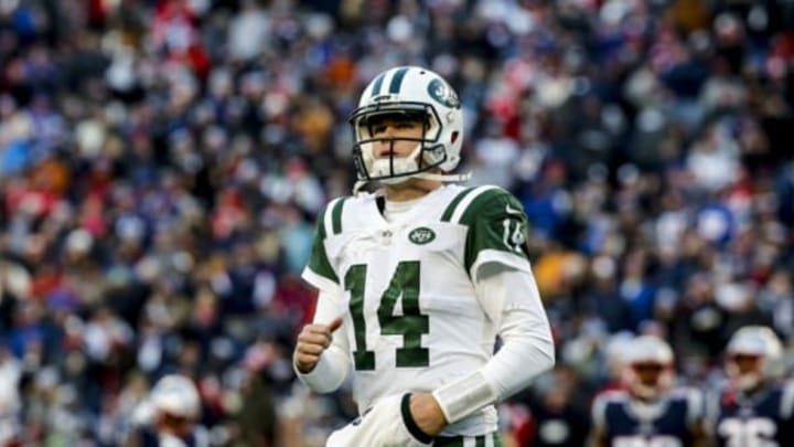 FOXBOROUGH, MASSACHUSETTS – DECEMBER 30: Sam Darnold #14 of the New York Jets reacts during the fourth quarter of a game against the New England Patriots at Gillette Stadium on December 30, 2018 in Foxborough, Massachusetts. (Photo by Jim Rogash/Getty Images)