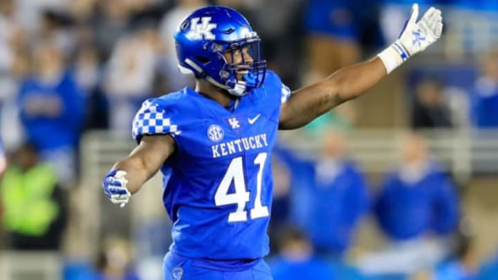 LEXINGTON, KY – SEPTEMBER 22: Josh Allen #41 of the Kentucky Wildcats celebrates during the 28-7 win over the Mississippi State Bulldogs at Commonwealth Stadium on September 22, 2018 in Lexington, Kentucky. (Photo by Andy Lyons/Getty Images)