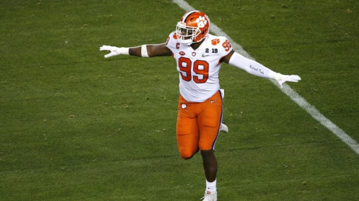 SANTA CLARA, CALIFORNIA - JANUARY 07: Clelin Ferrell #99 of the Clemson Tigers celebrates a defensive play against the Alabama Crimson Tide in the College Football Playoff National Championship at Levi's Stadium on January 07, 2019 in Santa Clara, California. (Photo by Lachlan Cunningham/Getty Images)