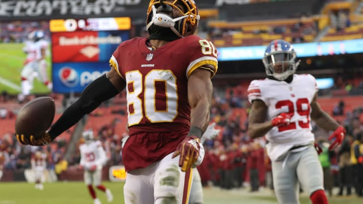 LANDOVER, MD - DECEMBER 09: Wide receiver Jamison Crowder #80 of the Washington Redskins celebrates a touchdown in the fourth quarter against the New York Giants at FedExField on December 9, 2018 in Landover, Maryland. (Photo by Patrick Smith/Getty Images)