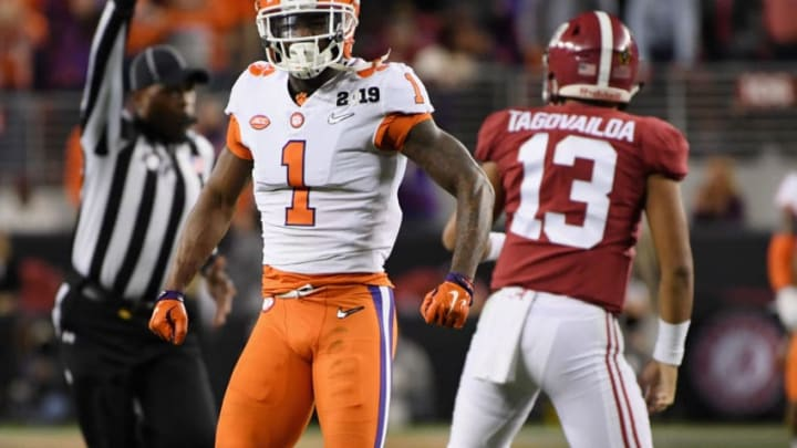 SANTA CLARA, CA - JANUARY 07: Trayvon Mullen #1 of the Clemson Tigers celebrates his sack against Tua Tagovailoa #13 of the Alabama Crimson Tide in the CFP National Championship presented by AT&T at Levi's Stadium on January 7, 2019 in Santa Clara, California. (Photo by Harry How/Getty Images)