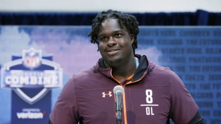 INDIANAPOLIS, IN – FEBRUARY 28: Offensive lineman Yodny Cajuste of West Virginia speaks to the media during day one of interviews at the NFL Combine at Lucas Oil Stadium on February 28, 2019 in Indianapolis, Indiana. (Photo by Joe Robbins/Getty Images)