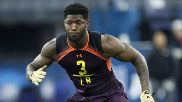 INDIANAPOLIS, IN - MARCH 03: Linebacker Josh Allen of Kentucky works out during day four of the NFL Combine at Lucas Oil Stadium on March 3, 2019 in Indianapolis, Indiana. (Photo by Joe Robbins/Getty Images)