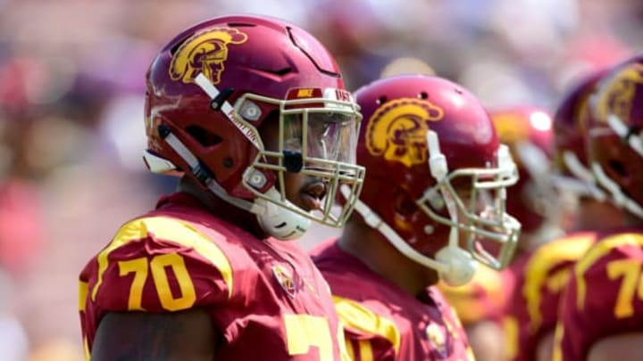 LOS ANGELES, CA – SEPTEMBER 02: Chuma Edoga #70 of the USC Trojans waits for a huddle during the game against the Western Michigan Broncos at Los Angeles Memorial Coliseum on September 2, 2017 in Los Angeles, California. (Photo by Harry How/Getty Images)