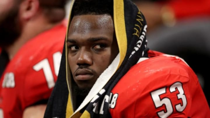 ATLANTA, GA – JANUARY 08: Lamont Gaillard #53 of the Georgia Bulldogs sits on the sidelines during the second quarter against the Alabama Crimson Tide in the CFP National Championship presented by AT&T at Mercedes-Benz Stadium on January 8, 2018 in Atlanta, Georgia. (Photo by Christian Petersen/Getty Images)