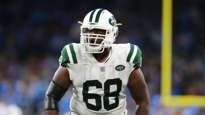DETROIT, MI - SEPTEMBER 10: Kelvin Beachum #68 of the New York Jets celebrates a play in the second half against the Detroit Lions at Ford Field on September 10, 2018 in Detroit, Michigan. (Photo by Rey Del Rio/Getty Images)