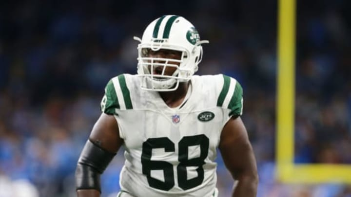 DETROIT, MI – SEPTEMBER 10: Kelvin Beachum #68 of the New York Jets celebrates a play in the second half against the Detroit Lions at Ford Field on September 10, 2018 in Detroit, Michigan. (Photo by Rey Del Rio/Getty Images)