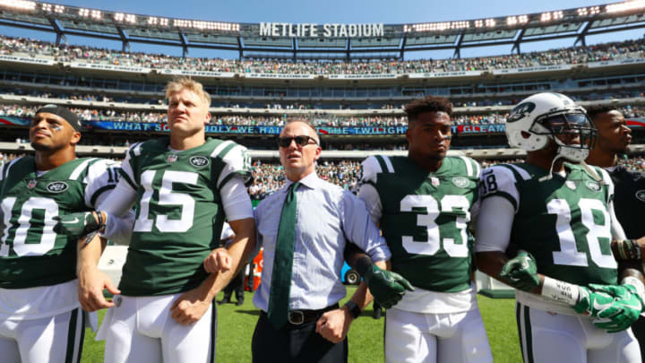 EAST RUTHERFORD, NJ - SEPTEMBER 24: Jermaine Kearse #10, Josh McCown #15, Jamal Adams #33, ArDarius Stewart #18 and Christopher Johnson CEO of the New York Jets stand in unison with his team during the National Anthem prior to an NFL game against the Miami Dolphins at MetLife Stadium on September 24, 2017 in East Rutherford, New Jersey. (Photo by Al Bello/Getty Images)