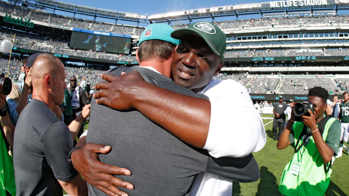 EAST RUTHERFORD, NJ – SEPTEMBER 24: Head coach Adam Gase of the Miami Dolphins and head coach Todd Bowles of the New York Jets meet at midfield after an NFL game at MetLife Stadium on September 24, 2017 in East Rutherford, New Jersey. The New York Jets defeated the Miami Dolphins 20-6. (Photo by Rich Schultz/Getty Images)