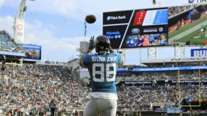 JACKSONVILLE, FL – SEPTEMBER 16: Austin Seferian-Jenkins #88 of the Jacksonville Jaguars looks in a touchdown reception during the first half against the New England Patriots at TIAA Bank Field on September 16, 2018 in Jacksonville, Florida. (Photo by Sam Greenwood/Getty Images)