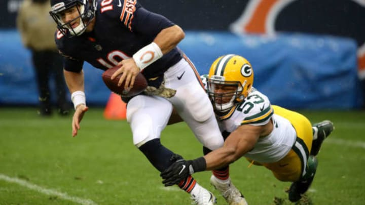 CHICAGO, IL – NOVEMBER 12: Quarterback Mitchell Trubisky #10 of the Chicago Bears is sacked by Nick Perry #53 of the Green Bay Packers in the third quarter at Soldier Field on November 12, 2017 in Chicago, Illinois. (Photo by Jonathan Daniel/Getty Images)