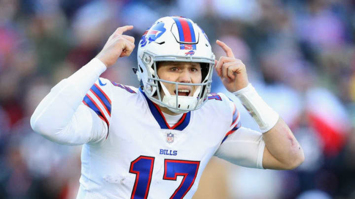 FOXBOROUGH, MA - DECEMBER 23: Josh Allen #17 of the Buffalo Bills gestures prior to the snap during the first half against the New England Patriots at Gillette Stadium on December 23, 2018 in Foxborough, Massachusetts. (Photo by Maddie Meyer/Getty Images)