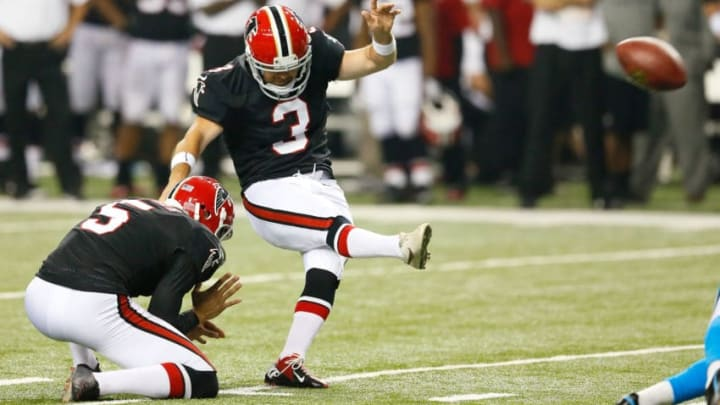 ATLANTA, GA - SEPTEMBER 30: Matt Bryant #3 of the Atlanta Falcons kicks the go-ahead field goal in the final seconds against the Carolina Panthers at Georgia Dome on September 30, 2012 in Atlanta, Georgia. (Photo by Kevin C. Cox/Getty Images)