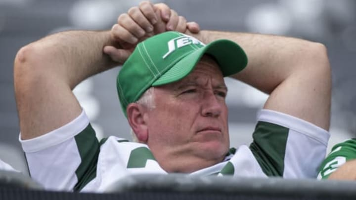 EAST RUTHERFORD, NJ – SEPTEMBER 08: A New York Jets fan reacts after the game against the Buffalo Bills at MetLife Stadium on September 8, 2019 in East Rutherford, New Jersey. Buffalo defeats New York 17-16. New York Jets (Photo by Brett Carlsen/Getty Images)