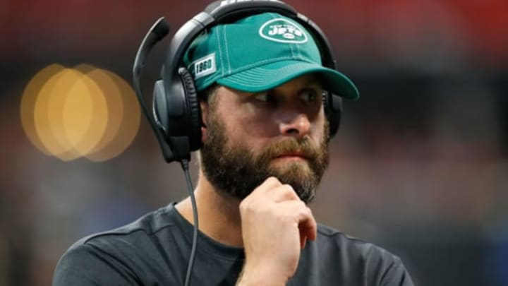 ATLANTA, GEORGIA – AUGUST 15: Head coach Adam Gase of the New York Jets looks on against the Atlanta Falcons during the first half of a preseason game at Mercedes-Benz Stadium on August 15, 2019 in Atlanta, Georgia.New York Jets (Photo by Kevin C. Cox/Getty Images)