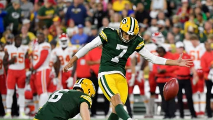 GREEN BAY, WISCONSIN – AUGUST 29: Sam Ficken #7 of the Green Bay Packers kicks the ball in the second quarter against the Kansas City Chiefs during a preseason game at Lambeau Field on August 29, 2019 in Green Bay, Wisconsin.New York Jets (Photo by Quinn Harris/Getty Images)