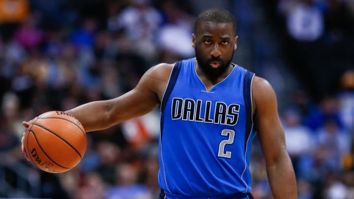 Mar 28, 2016; Denver, CO, USA; Dallas Mavericks guard Raymond Felton (2) in the fourth quarter against the Denver Nuggets at the Pepsi Center. The Mavericks defeated the Nuggets 97-88. Mandatory Credit: Isaiah J. Downing-USA TODAY Sports