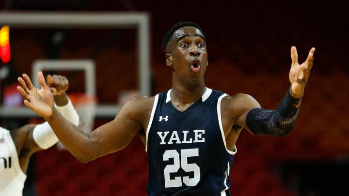 MIAMI, FL – DECEMBER 01: Miye Oni #25 of the Yale Bulldogs reacts against the Miami Hurricanes during the HoopHall Miami Invitational at American Airlines Arena on December 1, 2018 in Miami, Florida. (Photo by Michael Reaves/Getty Images)
