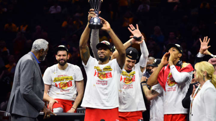 OAKLAND, CA - JUNE 13: The Toronto Raptors celebrate after winning the 2019 NBA Finals against the Golden State Warriors after Game Six of the NBA Finals on June 13, 2019 at ORACLE Arena in Oakland, California. NOTE TO USER: User expressly acknowledges and agrees that, by downloading and/or using this photograph, user is consenting to the terms and conditions of Getty Images License Agreement. Mandatory Copyright Notice: Copyright 2019 NBAE (Photo by Jesse D. Garrabrant/NBAE via Getty Images)