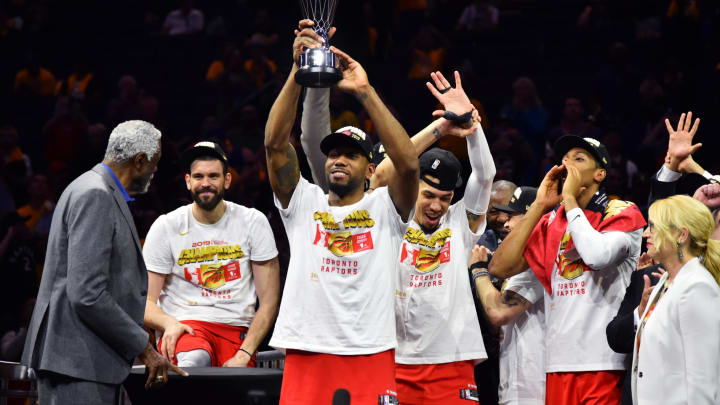 OAKLAND, CA – JUNE 13: The Toronto Raptors celebrate after winning the 2019 NBA Finals against the Golden State Warriors after Game Six of the NBA Finals on June 13, 2019 at ORACLE Arena in Oakland, California. NOTE TO USER: User expressly acknowledges and agrees that, by downloading and/or using this photograph, user is consenting to the terms and conditions of Getty Images License Agreement. Mandatory Copyright Notice: Copyright 2019 NBAE (Photo by Jesse D. Garrabrant/NBAE via Getty Images)