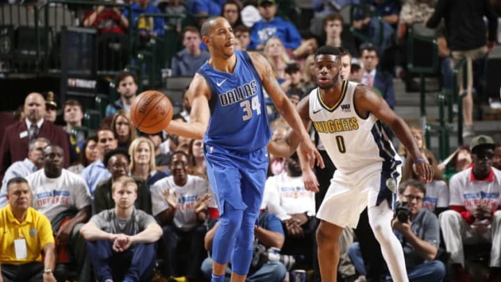 DALLAS, TX - DECEMBER 4: Devin Harris #34 of the Dallas Mavericks handles the ball against the Denver Nuggets on December 4, 2017 at the American Airlines Center in Dallas, Texas. NOTE TO USER: User expressly acknowledges and agrees that, by downloading and or using this photograph, User is consenting to the terms and conditions of the Getty Images License Agreement. Mandatory Copyright Notice: Copyright 2017 NBAE (Photo by Glenn James/NBAE via Getty Images)