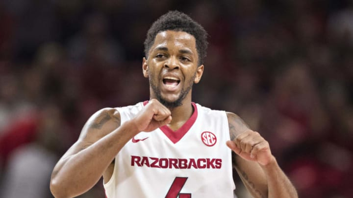 FAYETTEVILLE, AR - DECEMBER 30: Daryl Macon #4 of the Arkansas Razorbacks reacts to a call on the court during a game against the Tennessee Volunteers at Bud Walton Arena on December 30, 2017 in Fayetteville, Arkansas. The Razorbacks defeated the Volunteers 95-93. (Photo by Wesley Hitt/Getty Images)