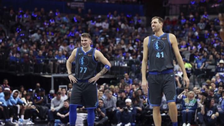 Dallas Mavericks Luka Doncic Dirk Nowitzki Mandatory Credit: Kevin Jairaj-USA TODAY Sports