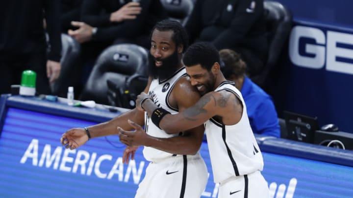Dallas Mavericks James Harden Kyrie Irving Mandatory Credit: Alonzo Adams-USA TODAY Sports