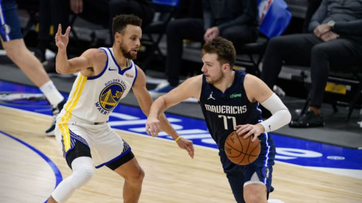 Dallas Mavericks Luka Doncic Stephen Curry Mandatory Credit: Jerome Miron-USA TODAY Sports