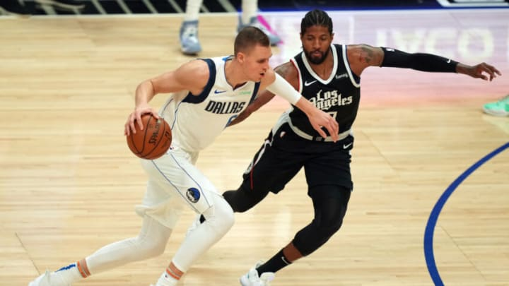 Dallas Mavericks Kristaps Porzingis Paul George Mandatory Credit: Kirby Lee-USA TODAY Sports