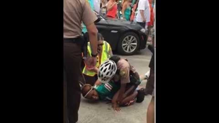Miko Grimes (Brent Grime's wife) getting arrested at the Dolphins game!