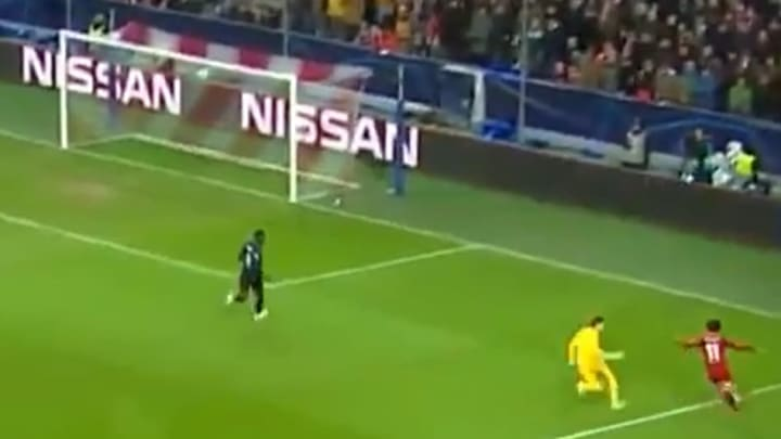 Salah finishes from impossible angle