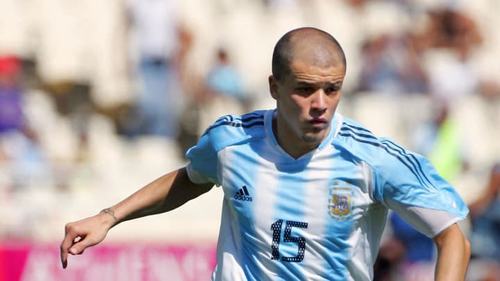 Argentine's Andres D'Alessandro dribbles