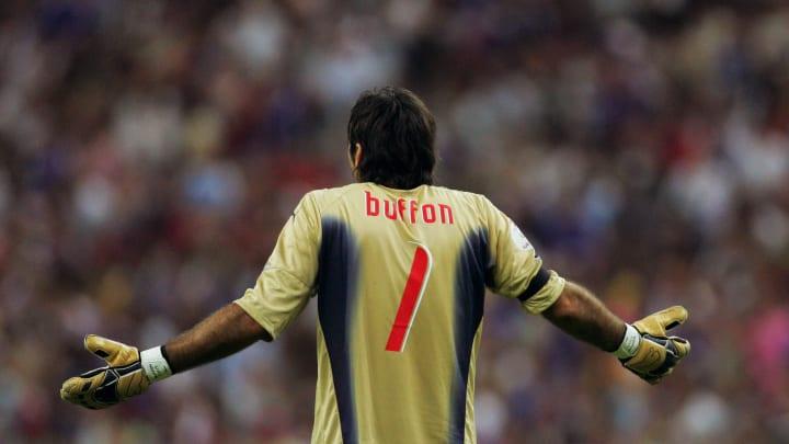 Italian goalkeeper Gianluigi Buffon reac