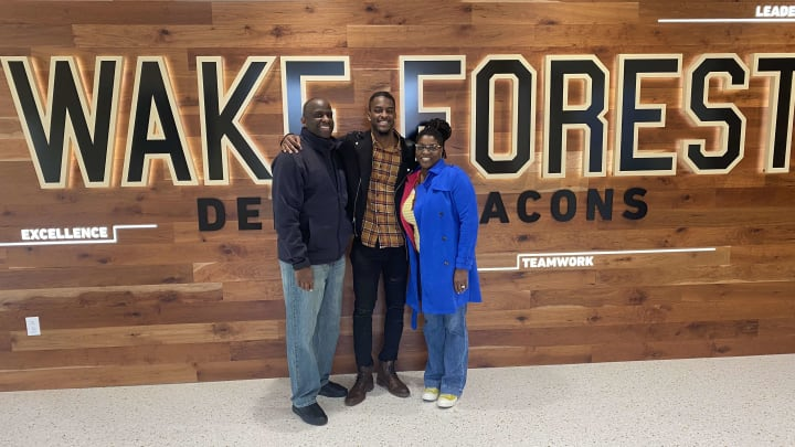 Donald Stewart with his parents during his Wake Forest official visit.