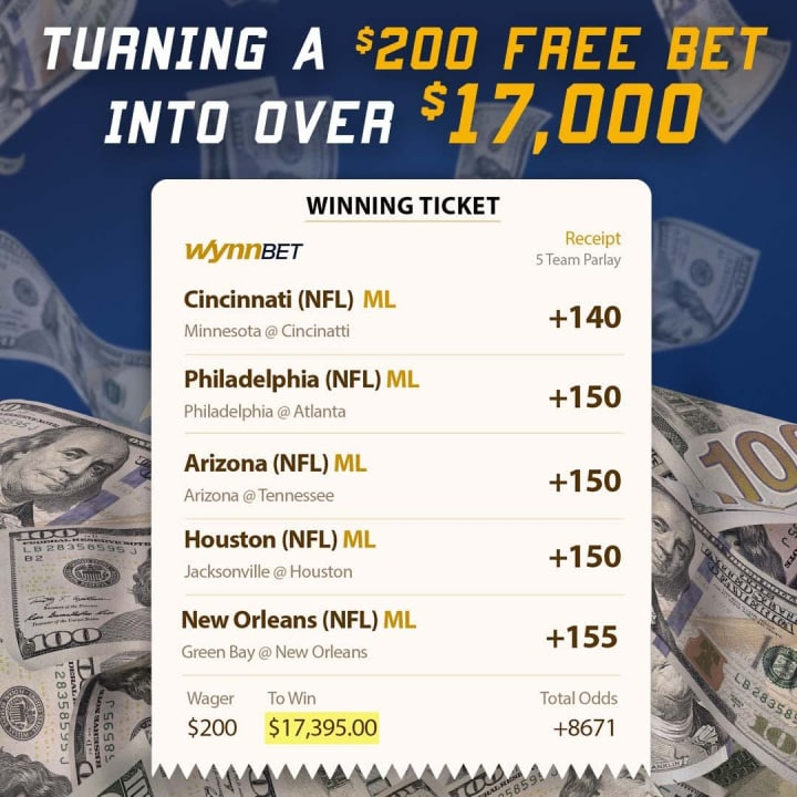 Last week's action saw one WynnBET player in Arizona turn a $200 free bet into $17,395.00!