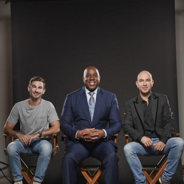 """Uncle Bud's Co-Founder Garrett Greller; Earvin """"Magic"""" Johnson; Uncle Bud's Co-Founder Bruno Schiavi"""