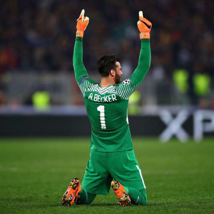 Alisson celebrates Roma's dramatic comeback against Barcelona