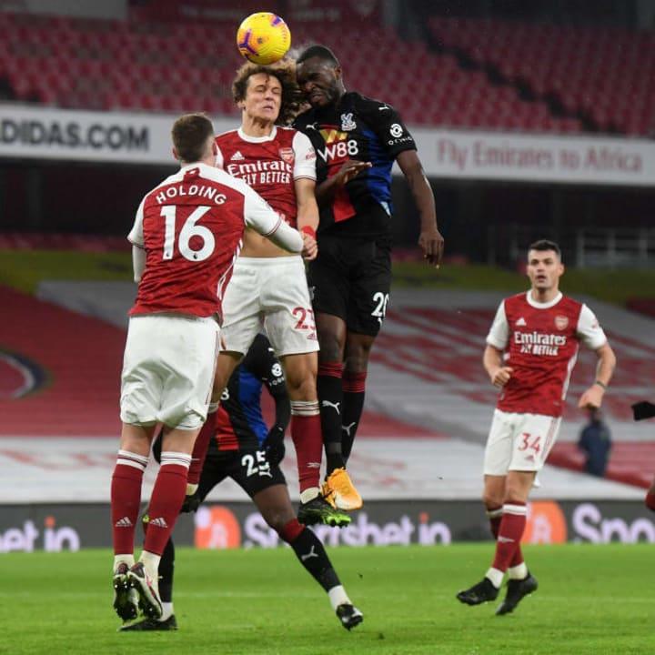David Luiz battles with Christian Benteke