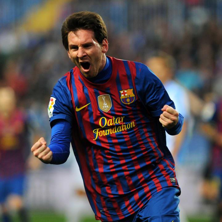 Lionel Messi celebrates a goal for Barcelona